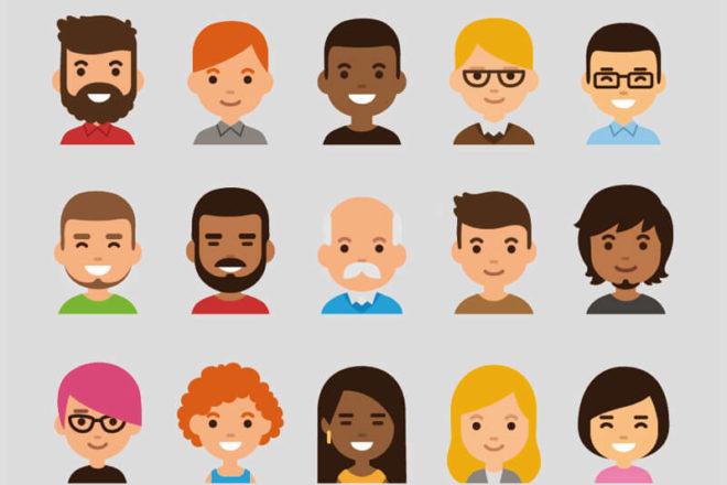 Comicgesichter von Menschen mit unterschiedlicher Haarfarbe und Hautfarbe und verschiedenen Geschlechtern symbolisieren das m/w/d in einer Stellenanzeige