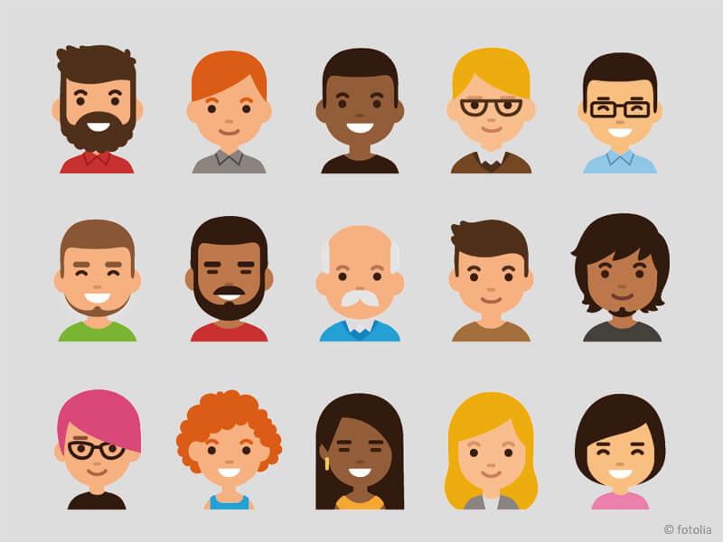 Comicgesichter von Menschen mit unterschiedlicher Haarfarbe und Hautfarbe und verschiedenen Geschlechtern
