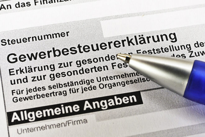 Foto zeigt das Formular, mit dem die Gewerbesteuer erklärt wird