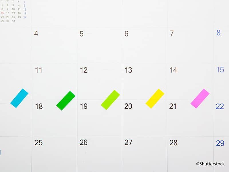 Kalender mit markierten Tagen