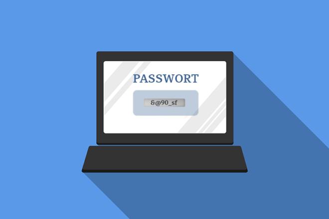 Illustration eines Computerbildschirms mit Passwort