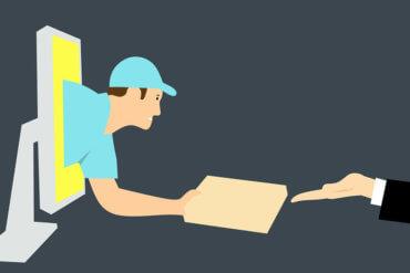 Illustration mit Mann der aus dem Computerbildschirm ein Paket liefert