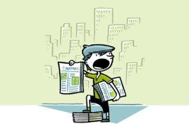 Zeitungsjunge berichtet über die Zahlungsdiensterichtlinie (PSD2)
