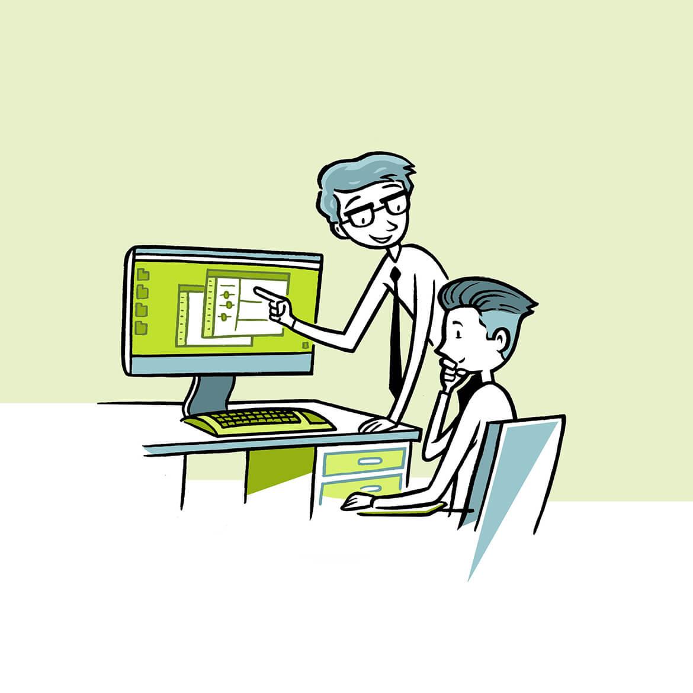 Ein Experte erklärt einem Anwender die Programmauslieferung