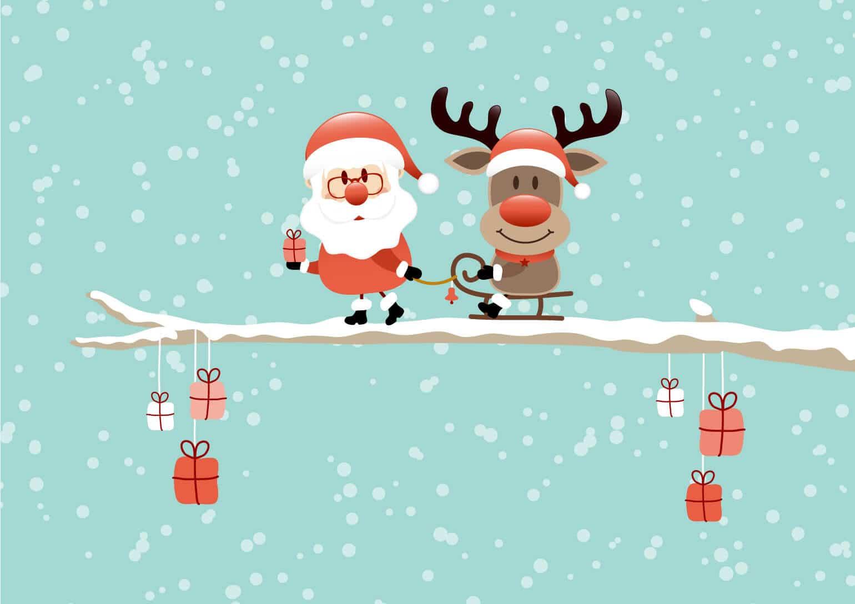 Bild mit Weihnajhctsmann und Rentier und Geschenken auf schneebedecktem Ast