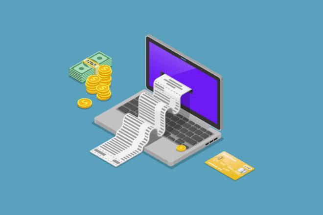 Die E-Rechnung wird europaweit Pflicht. Symbol-Grafik zeigt einen Laptop, aus dem Endlospapier quillt, daneben Geldscheine und Münzen sowie ein Briefumschlag.