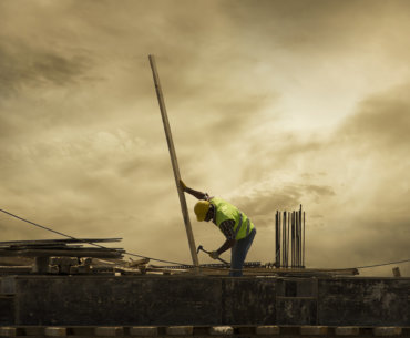 Bild mit Arbeiter auf einer Baustelle