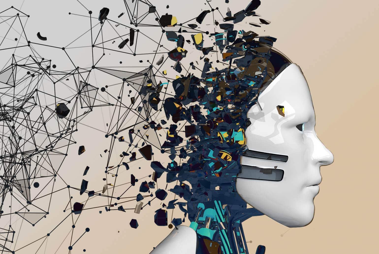 Bild eines Roboterkopes mit Vernetzungen aus dem Hinterkopf ins Internet