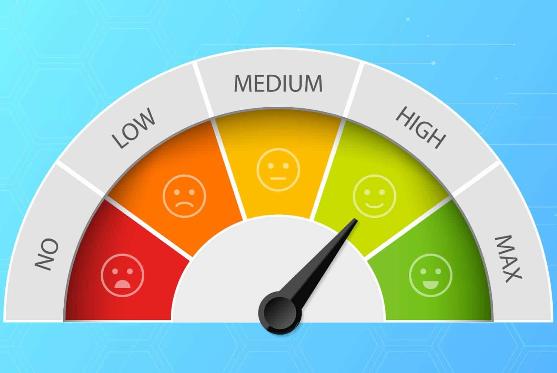 Bild zeigt eine Schubkraftanzeige mit farbigen Smileys für die Kategorien niedrig, mittel, und hoch