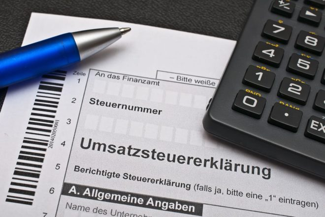 Foto eines Formulars zur Umsatzsteuererklärung