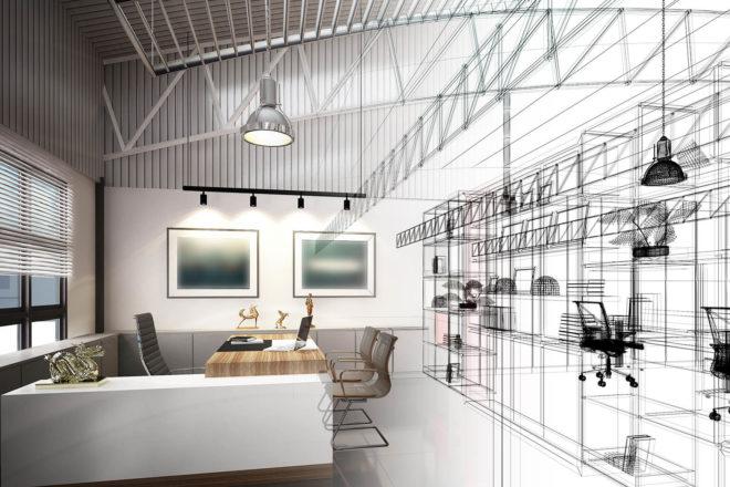 Halb eingerichteter und halb nur skizzierter Büro- und Geschäftsraum. Rechtzeitig geplant, lässt sich für die Investition der Investitionsabzugsbetrag 2019 nutzen