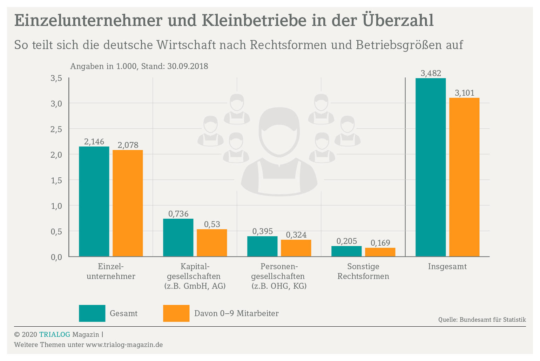 Grafik zeigt die Verteilung der Betriebe auf die unterschiedlichen Rechtsformen wie Einzelunternehmer, Personengesellschaft und Kapitalgesellschaft