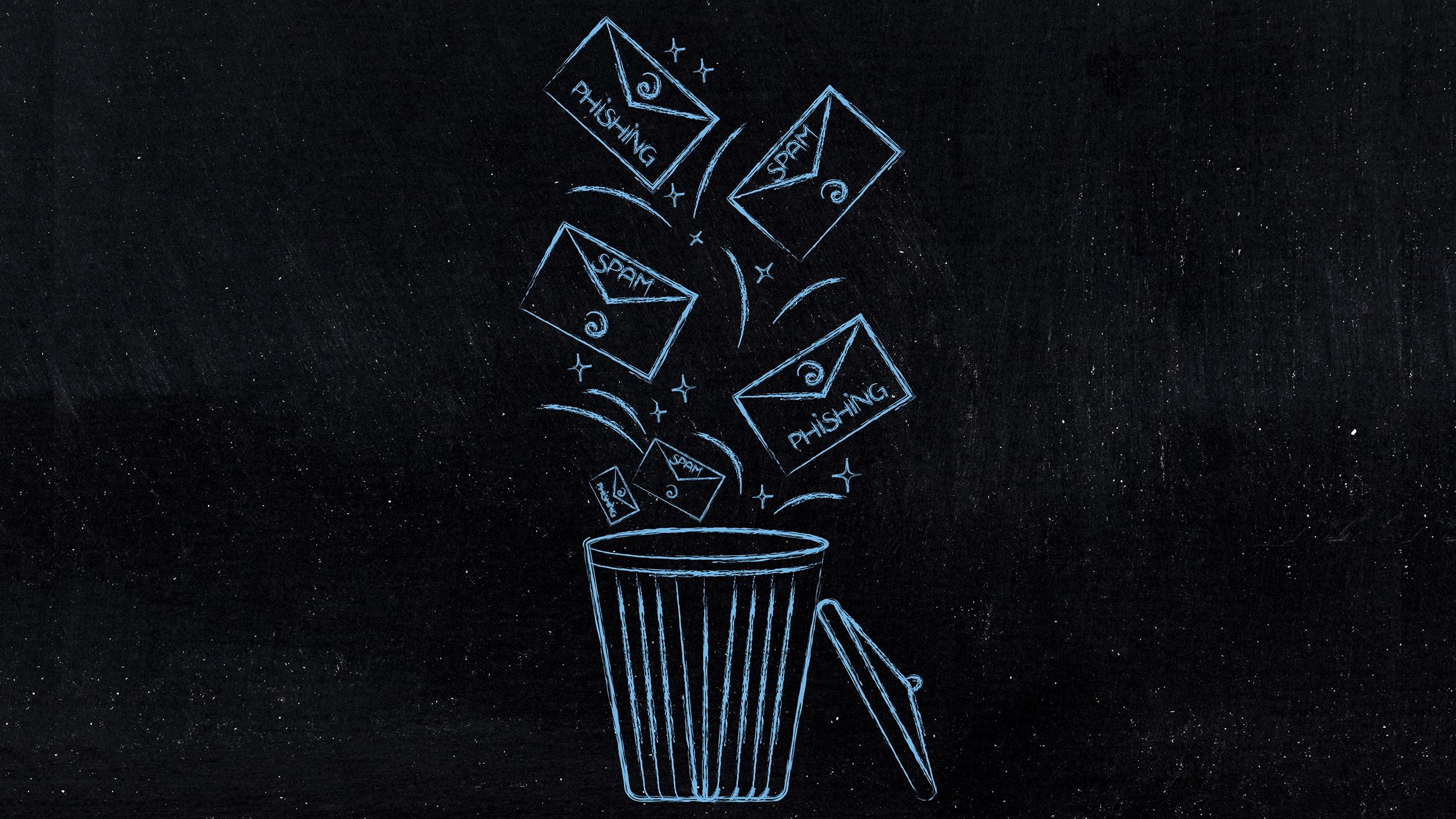 Grafik zeigt Briefumschläge, die im Mülleimer landen