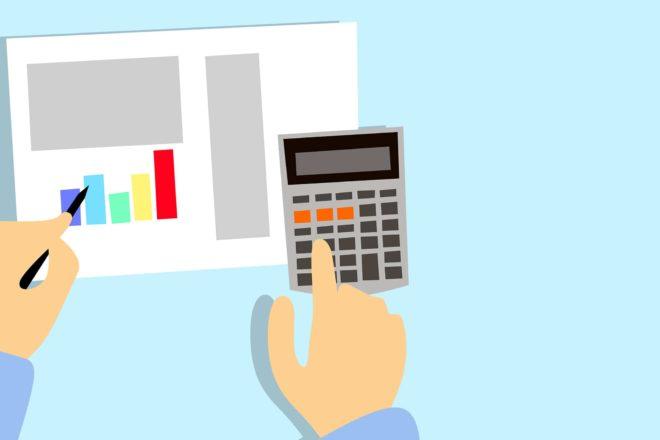 Illustration von Unternehmer, der mit Taschenrechner etwas ausrechnent, als Symbol für das Corona Konjunkturprogramm