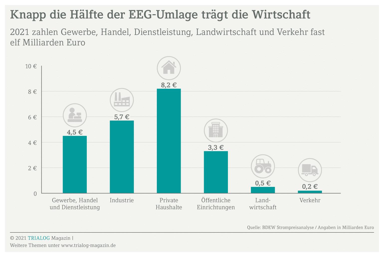 Die Grafik zeigt, dass die Wirtschaft knapp die Hälfte der EEG-Umlage zahlt. Viele Betriebe unterliegen auch der EEG-Meldepflicht.