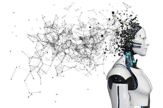 Ein Bild zeigt einen Roboterkopf, aus dem ein Netzwerk hinausragt, als Symbol für KI im Mittelstand