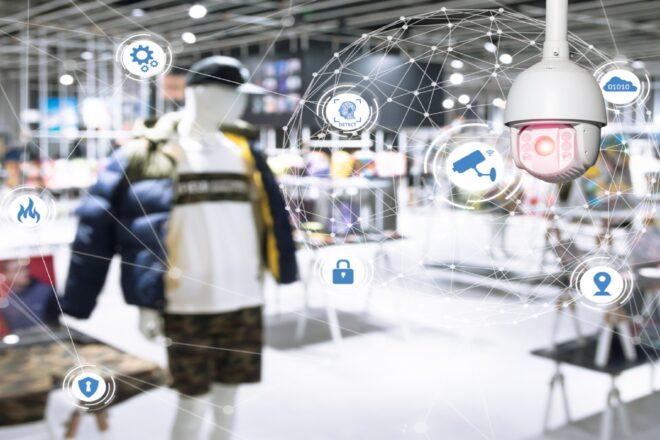 DATEV sucht die Digitalen Champions 2021 im bayerischen Einzelhandel. Das symbolisiert ein Foto von Verkaufsräumen mit digitalen Piktogrammen